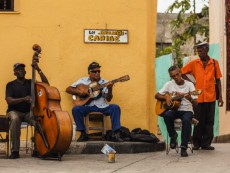 Local music players outside Museo (museum) Emilio Bacardi