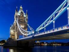 Tower Bridge across River Thames at night, London, England, United Kingdom, Europe
