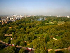 Elevated View of Hyde Park and Park Lane Looking West Towards Knightsbridge, Kensington and Bayswate