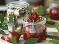 Red Onion Jam and Jar of Rollmops