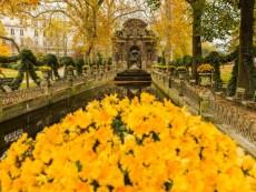 Jardin (garden) du Luxembourg, La Fontaine Medicis (Medici Fountain) in autumn (fall)