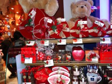 Valentine's Day decorations at Kensington stores in London