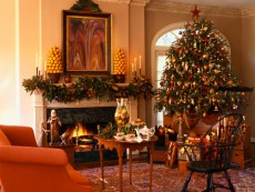 Traditional Living Room Decorated for Christmas