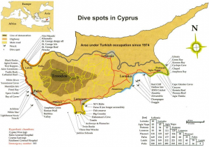 Maps dive site Cyprus