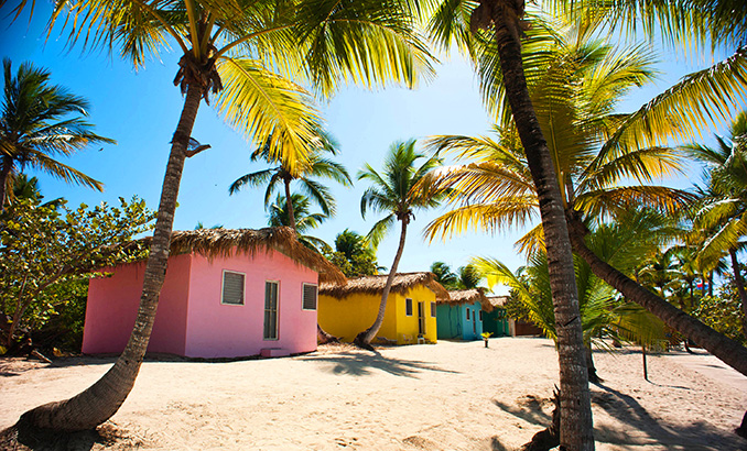 Catalina Island, La Romana, Dominican Republic. A line of bright