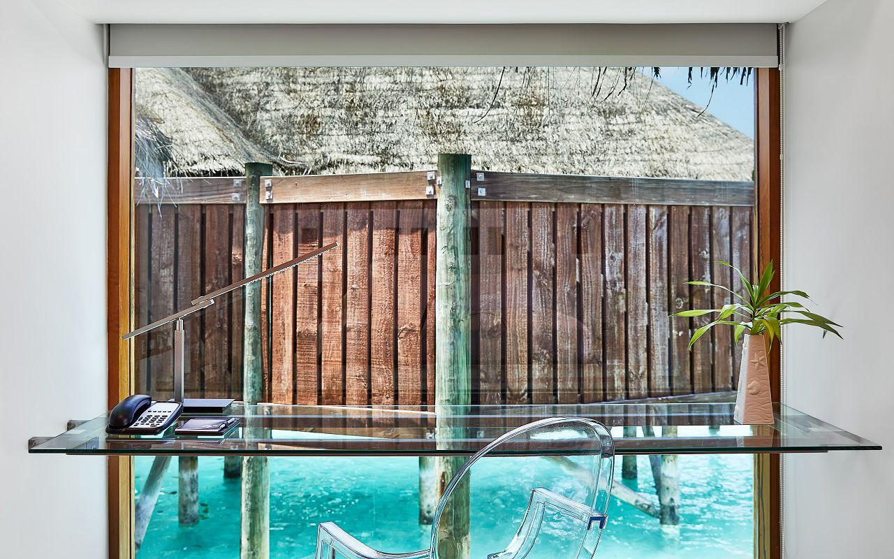 CONRAD MALDIVES RANGALI ISLAND_Villas_Water Villa_Glass Floor_Desk_ credit Justin Nicholas - hi-res