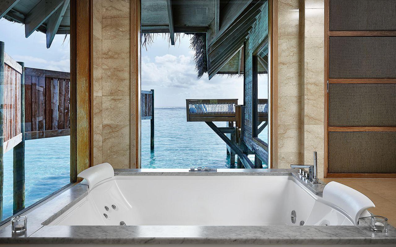 CONRAD MALDIVES _Premier Water Villa_bathroom_credit Justin Nicholas - hi-res