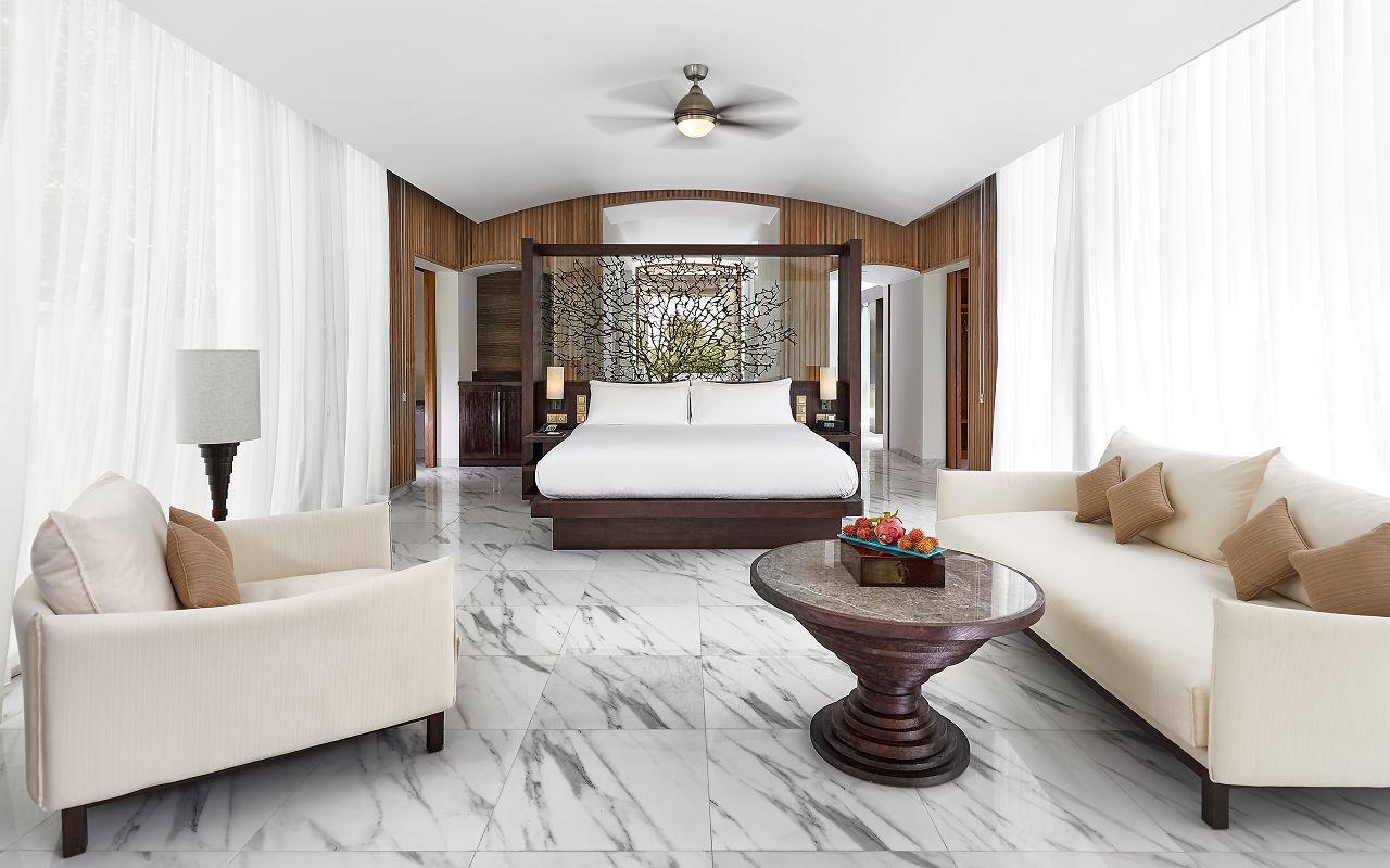 CONRAD MALDIVES_Villas_Deluxe Beach Villa_Bedroom_ credit Justin Nicholas - hi-res