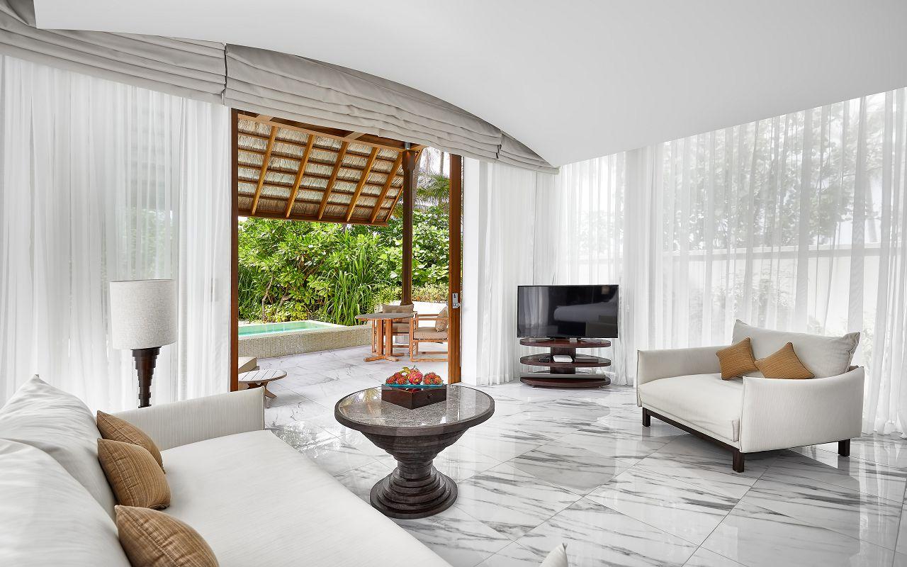 CONRAD MALDIVES_Villas_Deluxe Beach Villa_Living Area_ credit Justin Nicholas - hi-res