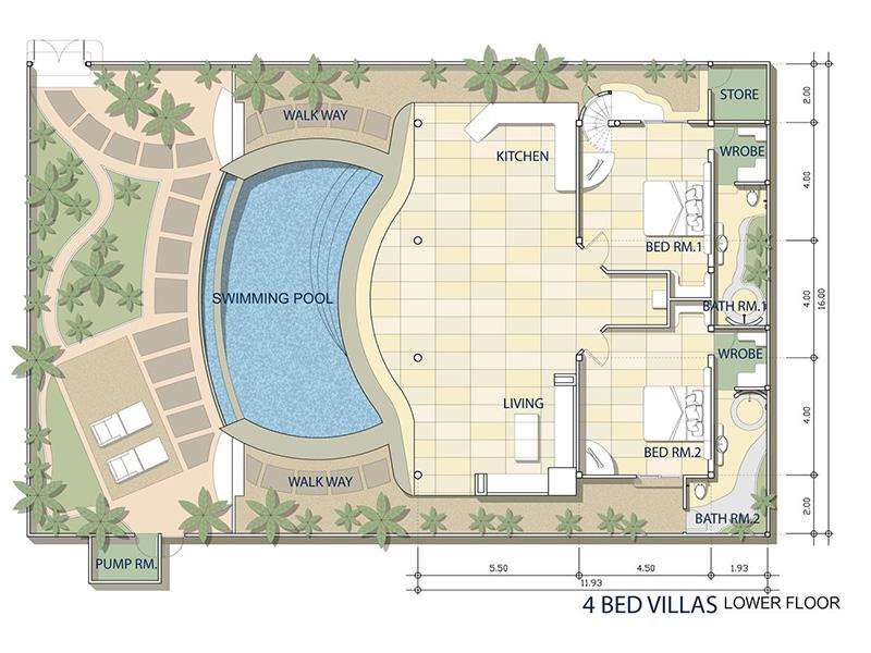 Four Bedroom Presidential Pool Villa-plan