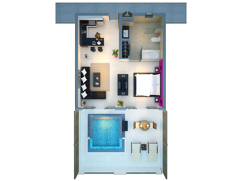 One Bedroom Private Pool Penthouse-1