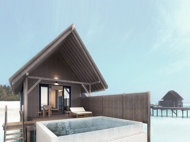 One Bedroom Water Villa with Pool - Deck