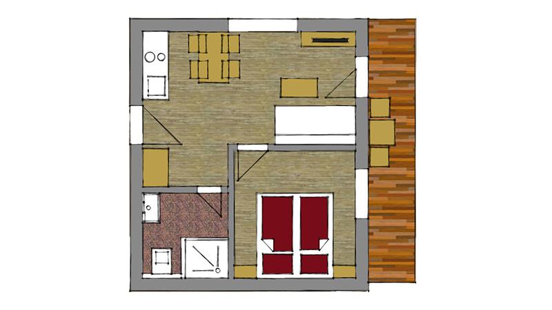 One bedroom apartment 2 + 2 5