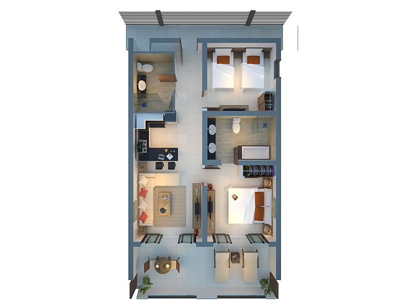 Two Bedroom Deluxe Apartment-plan