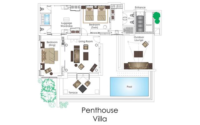 Two-Bedroom Penthouse Pool Villa