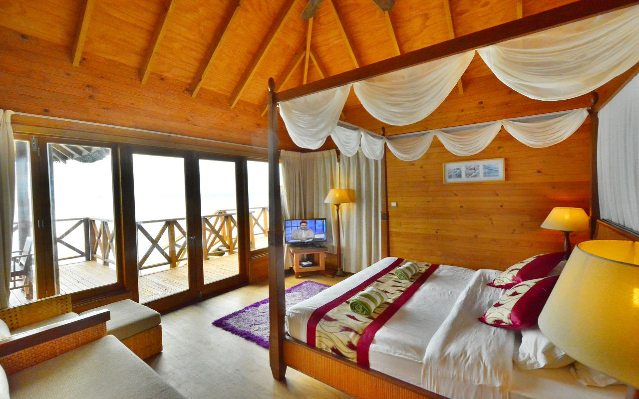Water villa sea view from room inside
