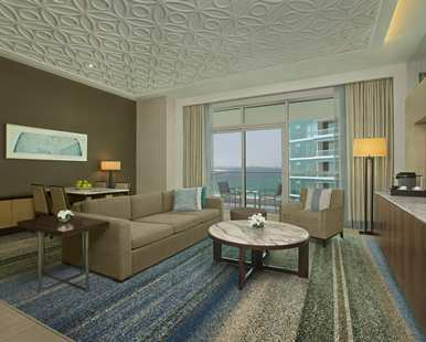 Choose this suite and soak up the marina views from the balcony.