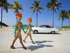 Tropicana Dancers at the beach. Havana. Cuba.