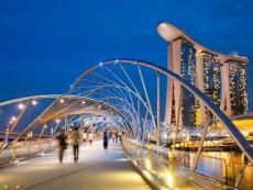 The Helix Bridge and Marina Bay Sands Hotel, Singapore