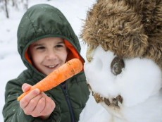Boy attaching carrot to snowman