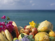 Tropical fruit basket at Punta Cana in Dominican Republic