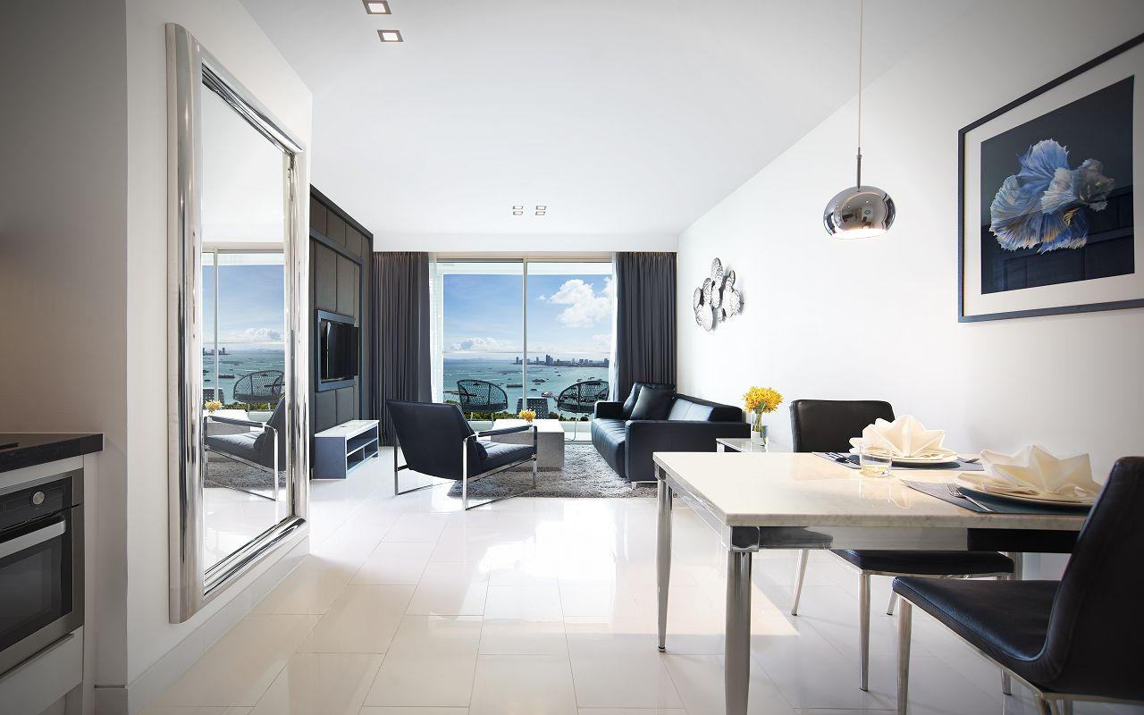 Amari Residences Pattaya_Two Bedroom Corner Suite Ocean Facing_Living Room