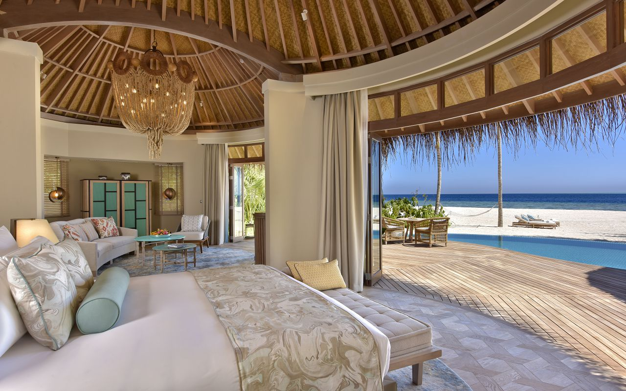 The Nautilus Maldives beach house interior from bedroom