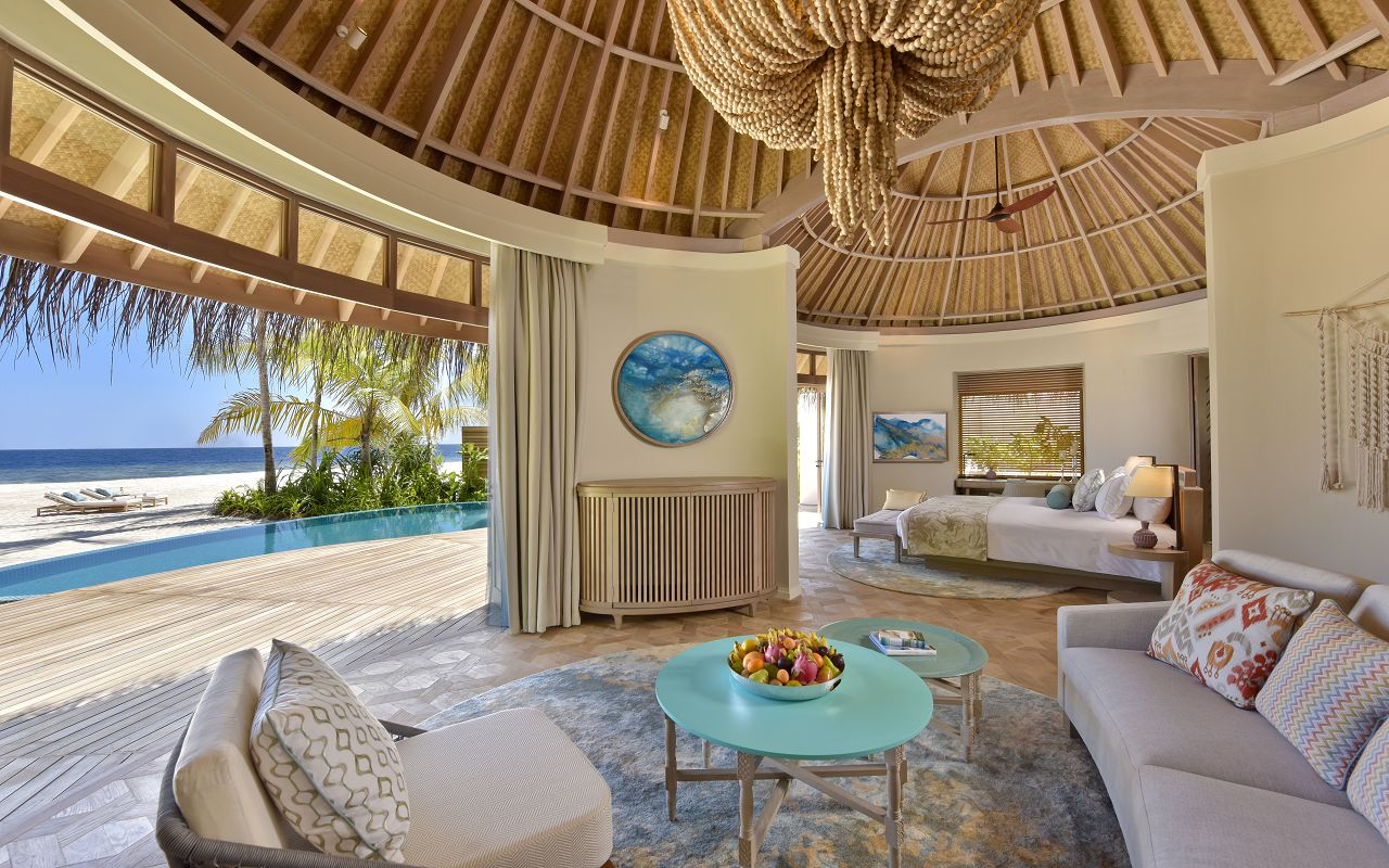 The Nautilus Maldives beach house interior from living room