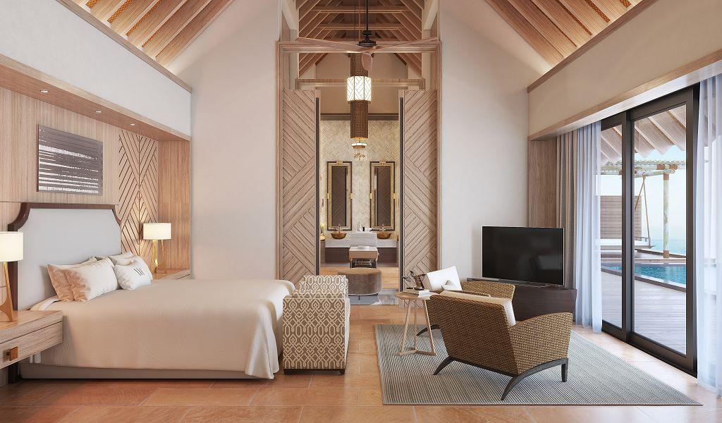 Waldorf Astoria Maldives Ithaafushi_1 Bedroom Overwater Villa_Bedroom