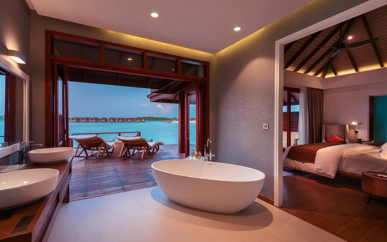 Water Villa with Pool - Villa Cross Section at Dusk - VARU by Atmosphere