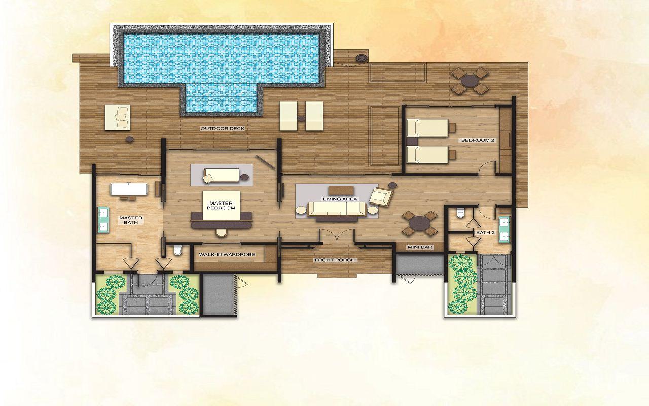 2 Bedroom Beach Suite Villa - Floor Plan