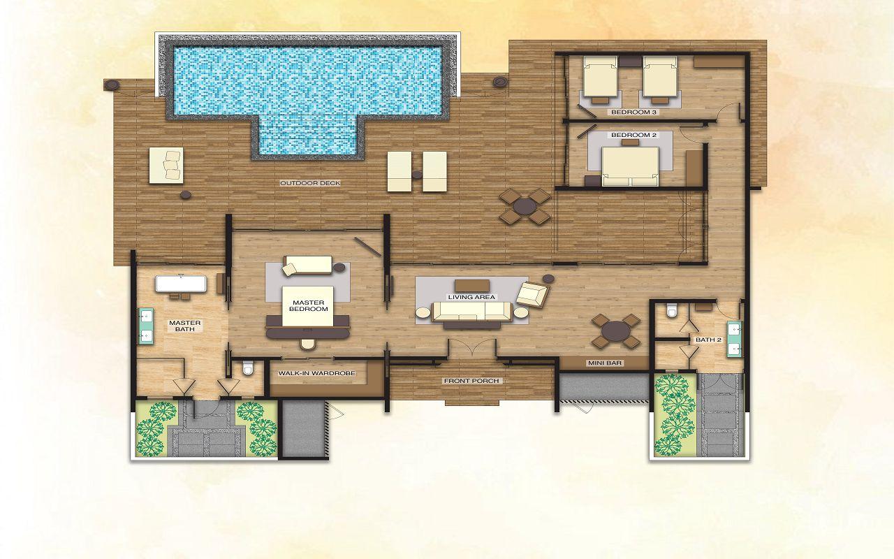 3 Bedroom Beach Suite Villa with Private Pool - Floor Plan
