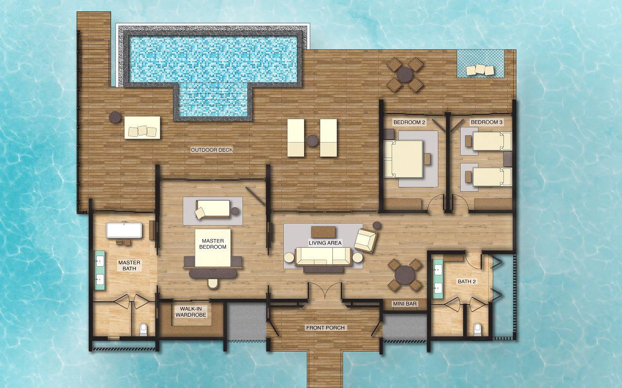 3 Bedroom Overwater Villa with Private Pool - Floor Plan