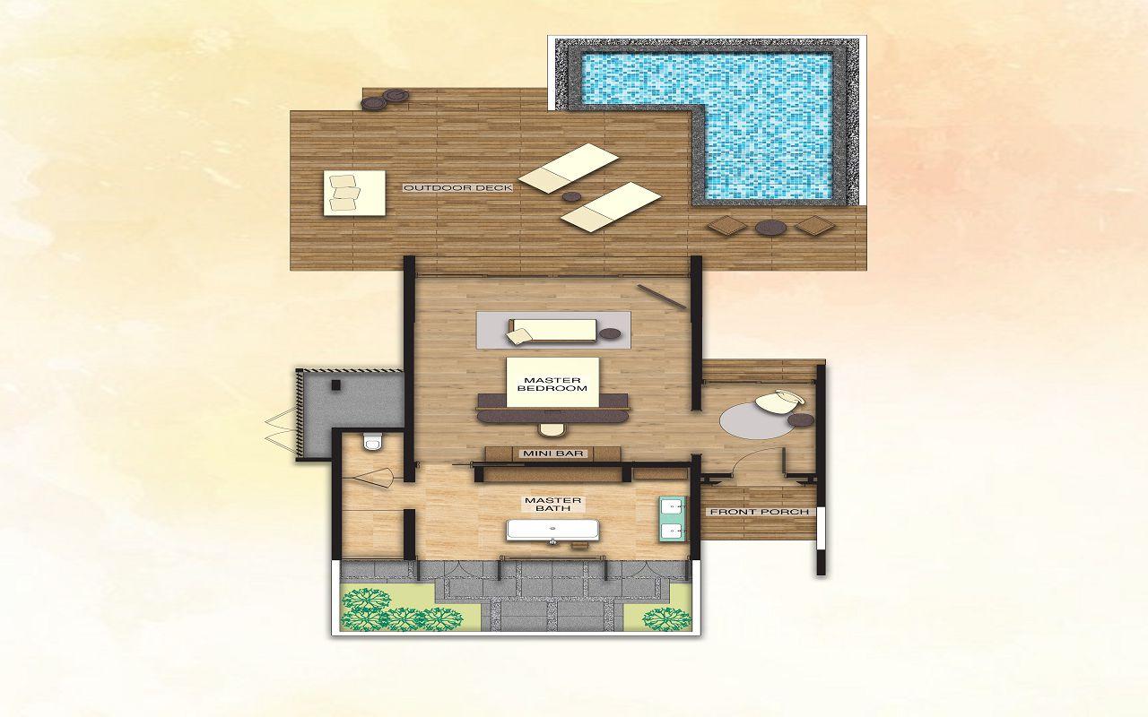 Beach Villa with Pool - Floor Plan