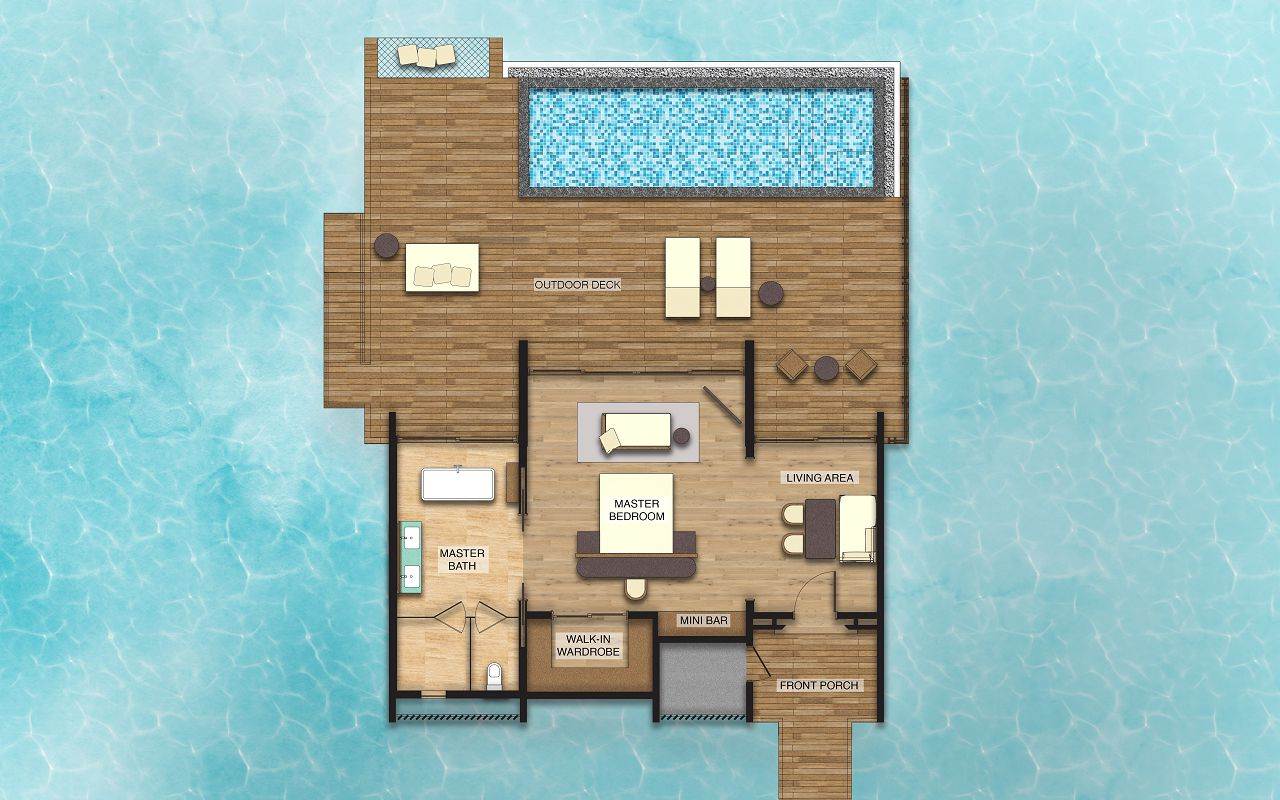 Overwater Villa with Private Pool - Floor Plan