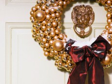 Gold colored Christmas wreath